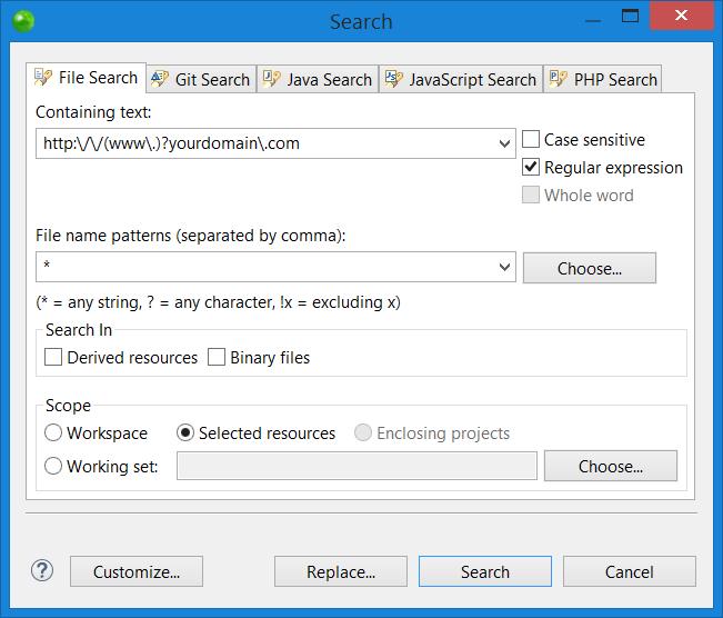 جستجو و جایگذاری در فایل های وردپرس