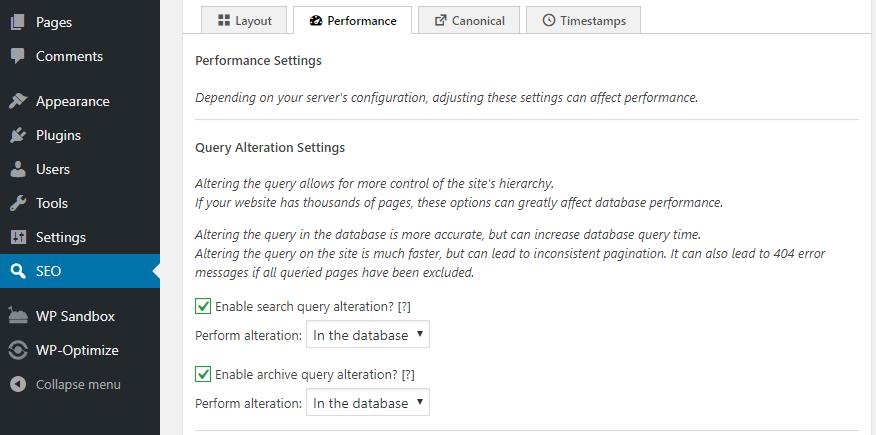 تنظیمات Performance افزونه The SEO Framework