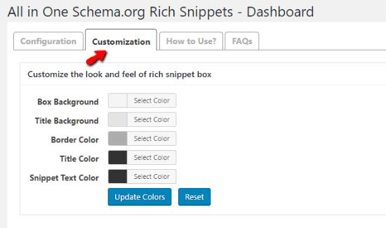 تنظیم رنگ افزونه All in One Schema Rich Snippets