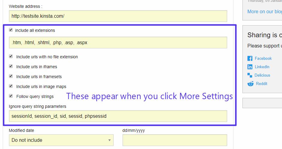 پیکربندی تنظیمات XML Sitemap Generator