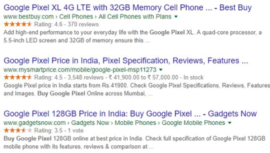 ریچ اسنیپت محصولات در گوگل
