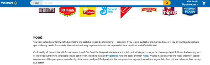 توضیحات صفحه دسته بندی برای غذا در فروشگاه والمارت