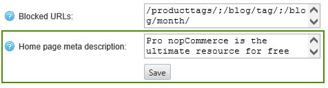تگ توضیحات ناپ کامرس در افزونه Seo optimizer
