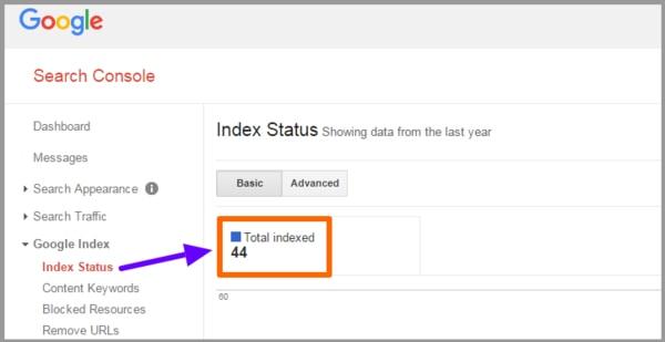 صفحات ایندکس شده در Index Status