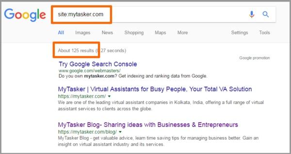 صفحات ایندکس شده سایت در گوگل