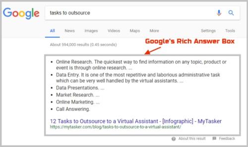 جعبه پاسخ گوگل