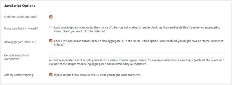 تنظیمات قسمت Javascript پلاگین autoptimize