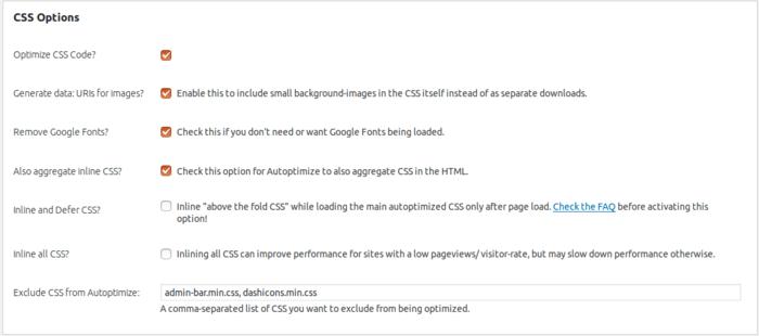 تنظیمات CSS افزونه سئو autoptimize