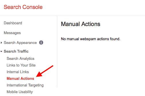 بخش Manual Actions کنسول جستجوی گوگل