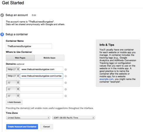 ساخت اکانت در Google Tag Manager