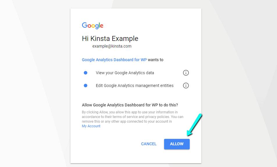 اجازه دسترسی به افزونه Google Analytics Dashboard for WP