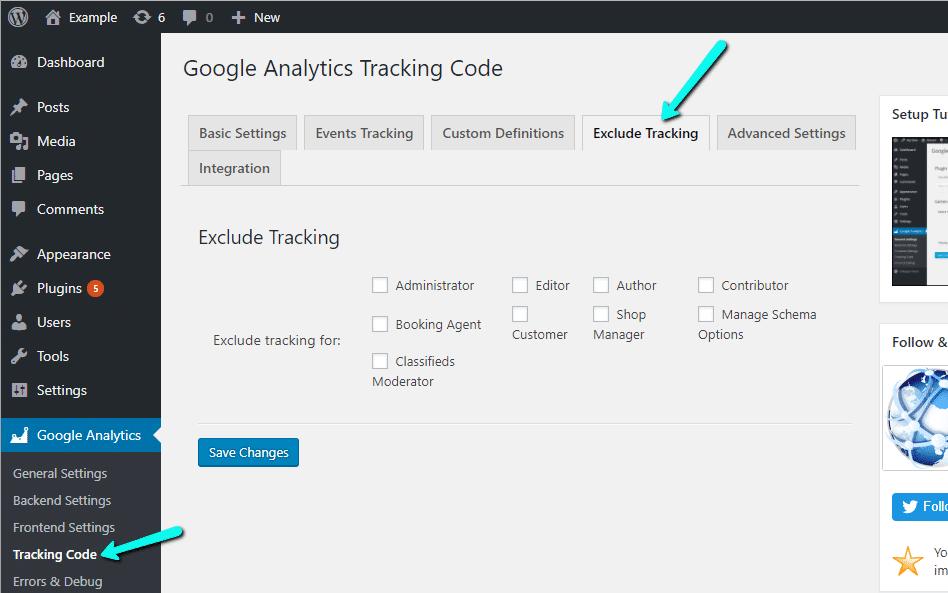 جداسازی کاربران از رهگیری در Google Analytics Dashboard for WP