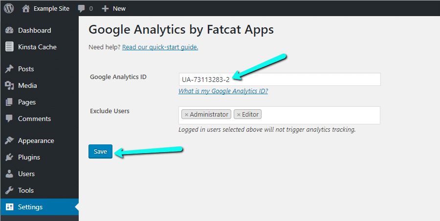 قرار دادن آی دی رهگیری در Analytics Cat