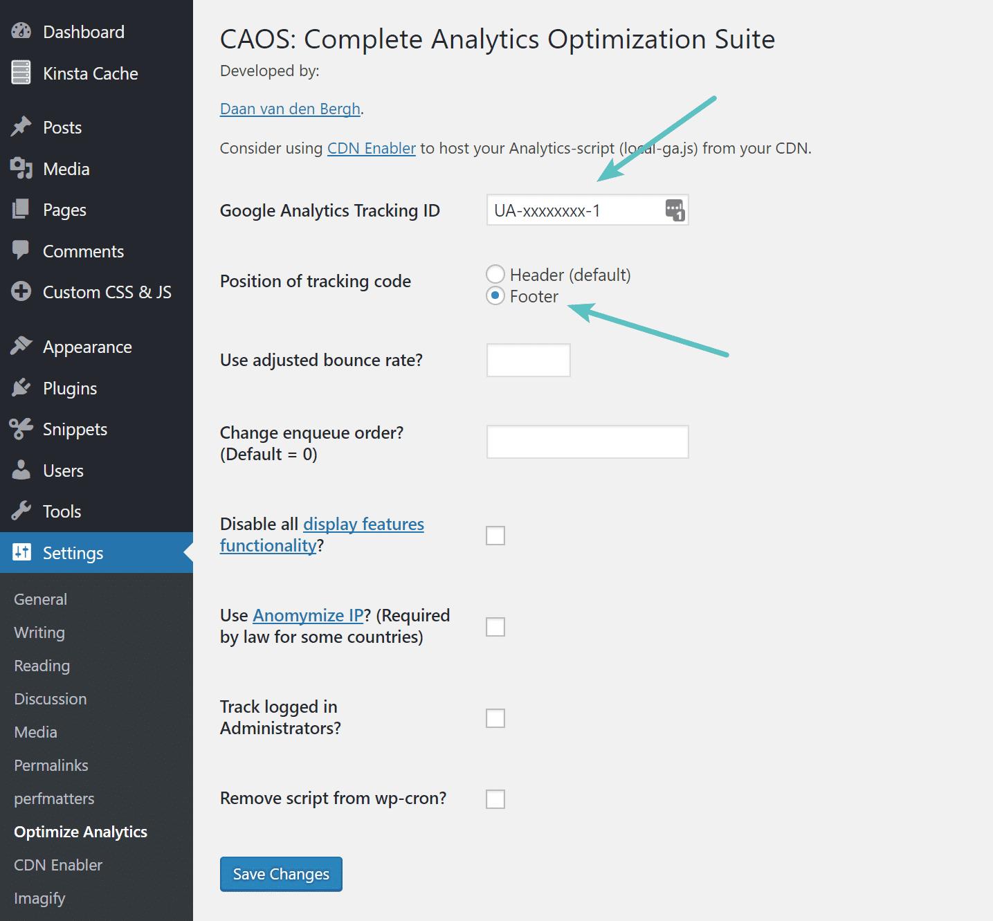 تنظیمات افزونه Complete Analytics Optimization Suite