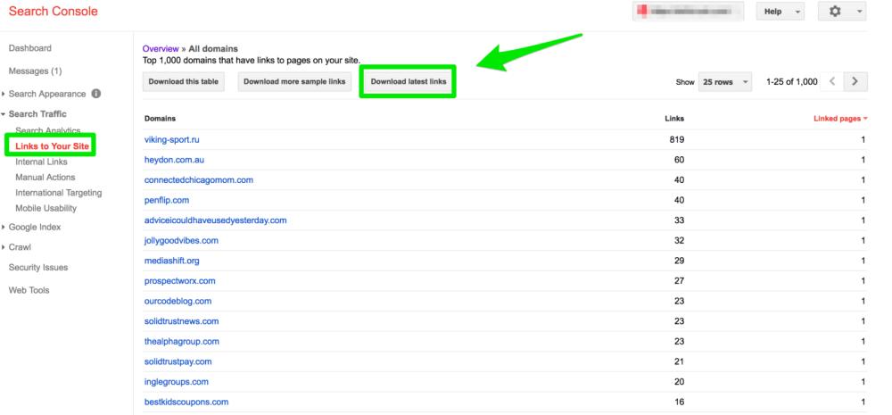گزارش Links to Your Site از گوگل سرچ کنسول