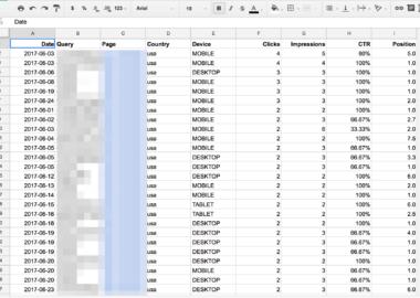 خروجی صفحه گسترده از داده های آنالیتیکس