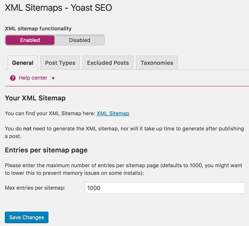 نقشه سایت XML در افزونه Yoast