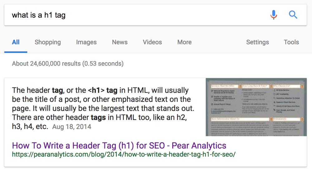 فیچر اسنیپت در جستجوی what is h1 tag