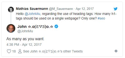 گوگل اعلام کرده که با چند H1 مشکلی ندارد