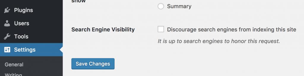 عدم نمایش سایت برای موتورهای جستجو در تنظیمات وردپرس