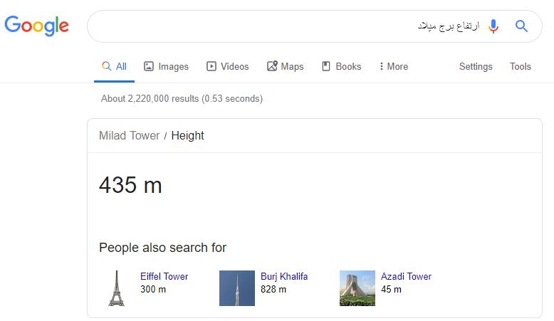 جستجوی عبارت ارتفاع برج میلاد در گوگل
