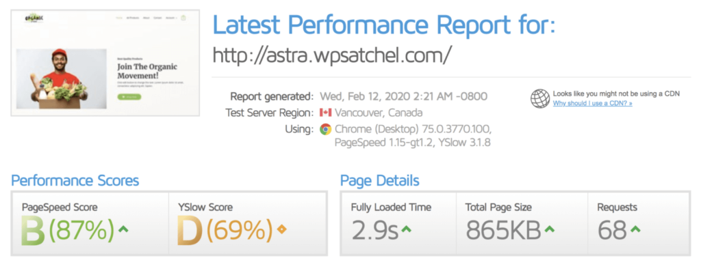 Site speed after installing Comet Cache