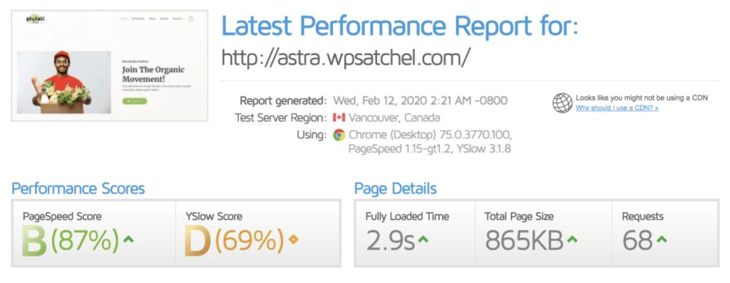 سرعت سایت پس از نصب Comet Cache